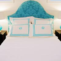 Heather Garrett Design - bedrooms - turquoise, blue, damask, headboard, espresso, nightstands, aqua, blue, ribbed, gourd, lamps, white, hotel bedding, blue, monogram, stitching, turquoise blue headboard, turquoise headboard, damask headboard, blue damask headboard, turquoise damask headboard,