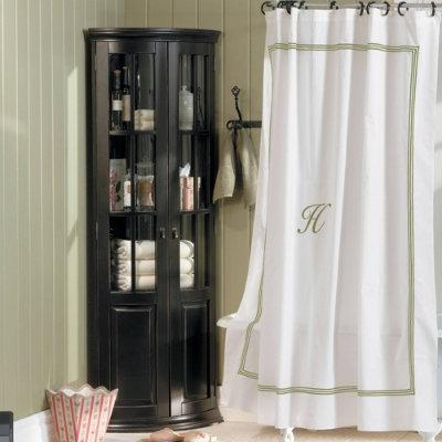 Bath - Monogrammed Shower Curtain - Sage Stripe - Ballard Designs - monogrammed, shower curtain