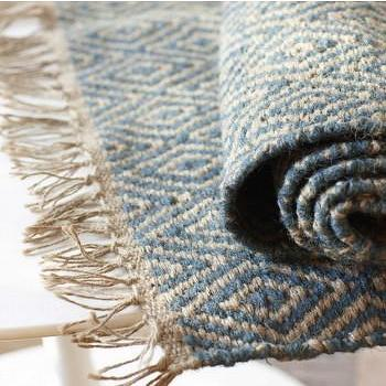 Rugs - Jute Diamond Rug - VivaTerra - blue, jute, diamond, rug
