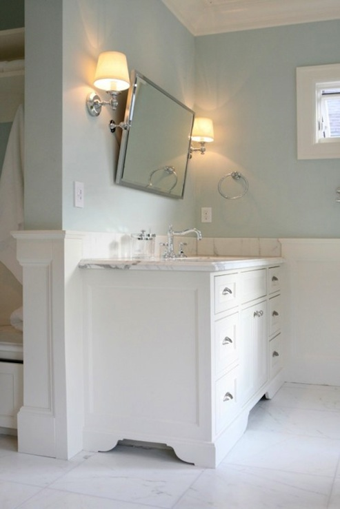 Bathroom mirrors restoration hardware - Blue Bathroom Paint Colors Transitional Bathroom