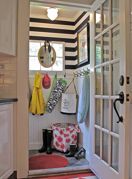 Liz Caan Interiors - laundry/mud rooms - mudroom, mudroom design, mudroom hooks, mudroom beadboard, beadboard in mudroom, mudroom beadboard walls, mudroom beadboard, black and white striped walls, horizontally striped walls, horizontal striped walls, black and white striped walls, black and white horizontal striped walls,