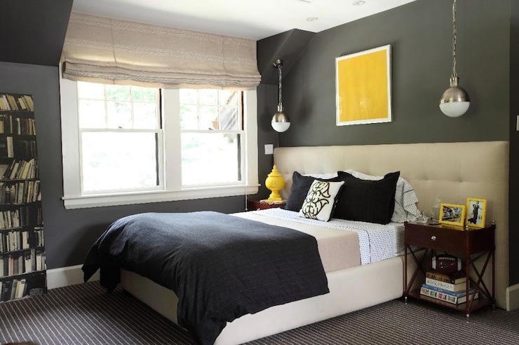 Liz Caan Interiors - bedrooms - Thomas O'Brien Hicks Pendant, wide headboard, extra wide headboard, tufted headboard, charcoal gray walls, teen boys room, teen boys bedroom, hicks pendant, yellow accents,