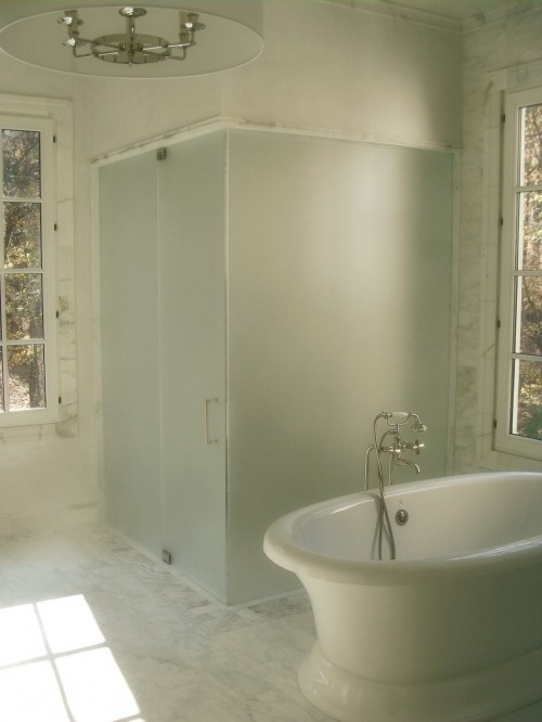 Frosted Glass Shower Transitional Bathroom Brian