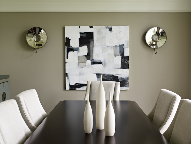 Taupe Dining Room   Contemporary   Dining Room   Bella Mancini Design How  Do You Coordinate Wall Sconces ... Part 33