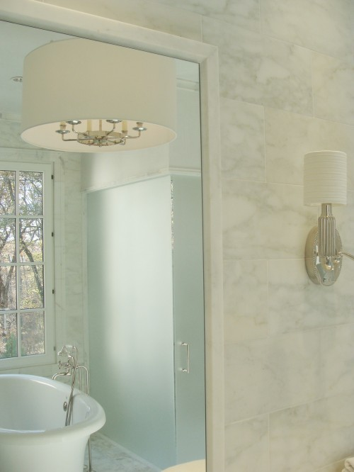 Frosted Glass Shower Door - Transitional - bathroom - Brian ...