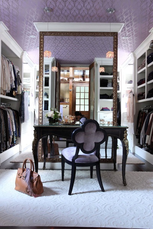 Suzie:  Liz Caan Interiors  Chic purple closet design with purple walls paint color, textured ...