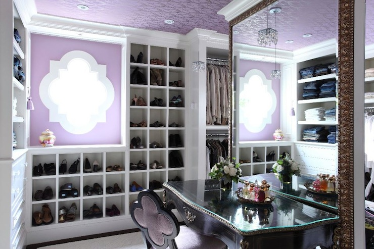 Suzie:  Liz Caan Interiors  Chic purple closet design with purple walls paint color, lack ...