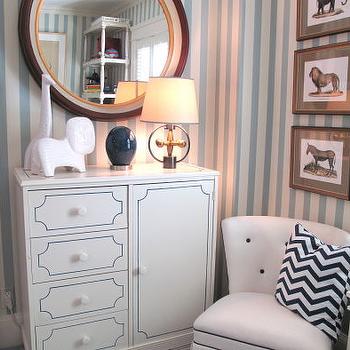 Liz Caan Interiors - boy's rooms: striped walls, vertical striped walls, striped boys room, white and blue striped walls, hollywood regency cabinet, hollywood regency chair, boys room, boys bedroom,