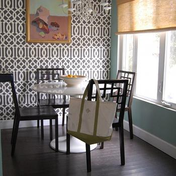 Beach Bungalow 8 - dining rooms - imperial trellis wallpaper, kelly wearstler wallpaper, kelly wearstler imperial trellis wallpaper, charcoal wallpaper, imperial trellis charcoal wallpaper, kelly wearstler imperial trellis charcoal wallpaper, kelly wearstler charcoal wallpaper, overlapping squares chairs, west elm dining chairs, Kelly Wearstler Imperial Trellis Wallpaper - Charcoal,