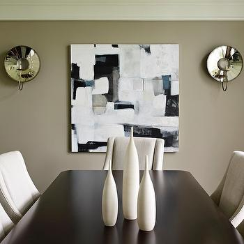 Bella Mancini Design - dining rooms - taupe  walls, taupe paint, taupe walls, taupe dining room, mirrored sconces,  taupe dining room, ivory