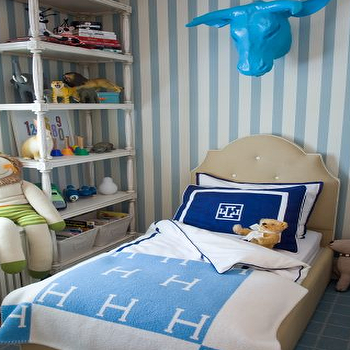 Liz Caan Interiors - boy's rooms - striped walls, vertical striped walls, striped boys room, white and blue striped walls, tufted headboard, twin tufted headboard, hermes throw, hermes throw blanket, monogrammed bedding, kids bookcase,
