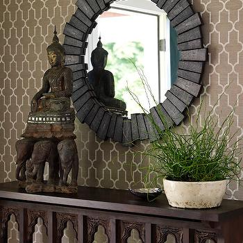 Bella Mancini Design - entrances/foyers - trellis wallpaper, brown trellis wallpaper, moroccan wallpaper, brown moroccan wallpaper, quatrefoil wallpaper, brown quatrefoil wallpaper, moorish tiles wallpaper, brown moorish tiles wallpaper, phillip jeffries wallpaper,