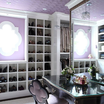 Liz Caan Interiors - closets - shoe racks, shoe cabinet, shoe cabinets, shoe shelves, shelves for shoes, shoe storage, shoe closet, closet shoe shelves, shoe racks, closet shoe racks, shoe cubbies, quatrefoil chair, purple quatrefoil chair, velvet quatrefoil chair, purple velvet chair, purple velvet quatrefoil chair, purple ceiling, wallpapered ceiling, purple wallpaper ceiling, purple wallpaper on ceiling, wallpaper on ceiling, floor mirror, walk in closet, french vanity, french vanity table, quatrefoil window, shoe cubbies, built in shoe cubbies,