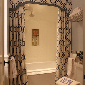 Liz Caan Interiors - bathrooms - valance, shower valance, double shower curtains, shower curtains, valance and shower curtains, shower with two shower curtains, moorish tile shower curtains, moorish tile valance, moorish tile shower valance, train rack, train rack over toilet, towel rack above toilet, towel rack over toilet,