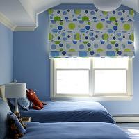 Bella Mancini Design - boy's rooms - blue, walls, blue, green, dots, roman shade, tan, headboard, twin beds, blue, bedding,  Adorable blue &