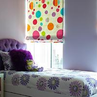 Bella Mancini Design - girl's rooms - roman shades, purple headboard, tufted headboard, purple tufted headboard, girls headboard, girls purple headboard, purple girls headboard, dots roman shade, purple bedroom, purple walls, purple shag pillow,