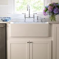 Bella Mancini Design - kitchens: farmhouse sink, marble, countertops, creamy, white, shaker, kitchen cabinets,  Gorgeous kitchen design with
