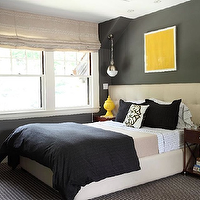 Liz Caan Interiors - bedrooms - wide headboard, extra wide headboard, tufted headboard, charcoal gray walls, teen boys room, teen boys bedroom, hicks pendant, yellow accents, Thomas O'Brien Hicks Pendant,