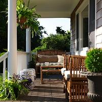 Bella Mancini Design - porches - wicker, furniture, white, green, striped, cushions, blue, garden, stools, hanging, plants,  Beautiful porch