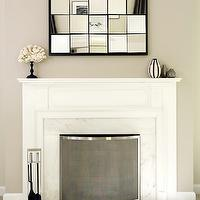 Bella Mancini Design - living rooms - multi panel mirror, fireplace mirror, mirror over fireplace, marble fireplace surround, white fireplace mantle,