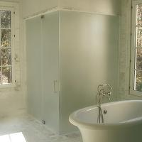 Brian Watford Interiors - bathrooms - frosted glass, frameless, glass shower, white, porcelain, soaking tub, marble, tiles, floor, backsplash,