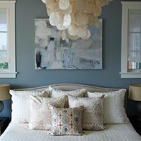 Bella Mancini Design - bedrooms - colette headboard, crate and barrel headboards, crate and barrel beds, abstract art over headboard, large capiz chandelier, blue bedroom walls,