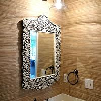 Bryn Alexandra Interiors - bathrooms - gold, grasscloth, wallpaper, Overstock, faucet, Lowe&#039;s, towel ring, bone inlay, bone inlay mirror, inlaid mirror, bone inlaid mirror, black bone inlay mirror, black and white bone inlay mirror, flower bone inlay mirror, Wisteria Embossed Bone Flower Mirror, Pottery Barn Rustic Glass Sconce,