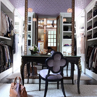 Liz Caan Interiors - closets - shoe racks, purple ceiling, quatrefoil chair, purple quatrefoil chair, wallpapered ceiling, purple wallpaper ceiling, purple wallpaper on ceiling, wallpaper on ceiling, floor mirror, walk in closet, french vanity, french vanity table, Suzanne Kasler Quatrefoil Chair,