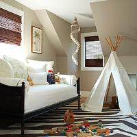Bella Mancini Design - boy's rooms - zebra rug, play room, attic play room, attic playroom, teepee, daybed, cane daybed, black daybed, black cane daybed, taupe walls,