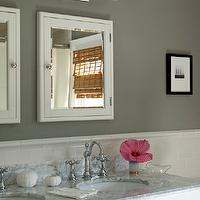 Bella Mancini Design - bathrooms - gray, walls, white, medicine, cabinets, mirrors, double sinks, subway tiles, backsplash, white bathroom washstand, vanity, white, carrara, marble, countertops, polished nickel, faucets, gray bathroom, gray bathrooms, Pottery barn Sussex Double Tube Sconce,