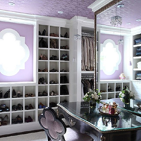 Liz Caan Interiors - closets - purple, walls, black, vintage, vanity, desk, black, quatrofoil, chair, purple, velvet, shor racks, shoe cabinet, shoe cabinets, shoe shelves, shelves for shoes, shoe storage, shoe closet, closet shoe shelves, shoe racks, closet shoe racks, shoe cubbies, quatrefoil chair, purple quatrefoil chair, velvet quatrefoil chair, purple velvet chair, purple velvet quatrefoil chair,