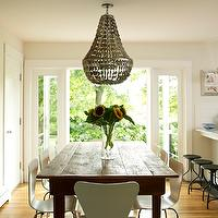 Bella Mancini Design - dining rooms - gray shell chandelier, shell chandelier, jenny chandelier, gray chandelier, farmhouse table, farmhouse dining table, white dining chairs, plastic dining chairs, white plastic dining chairs, , Oly Studio Jenny Chandelier,