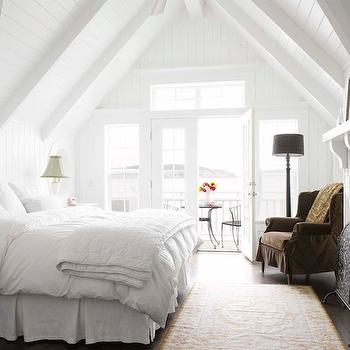 Alex Hayden - bedrooms - bedroom with vaulted ceiling, vaulted ceiling bedroom, paneled bedroom, white bedroom panels, white paneled bedroom, bedroom fireplace, fireplace shelf,