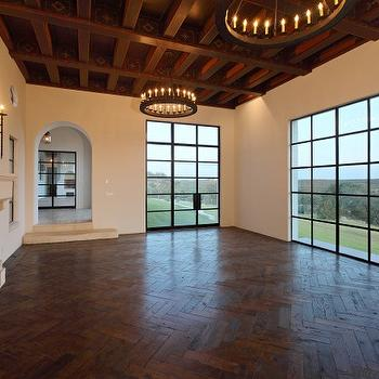 Herrinbone Floor, Mediterranean, living room, Hugh Jefferson Randolph Architects