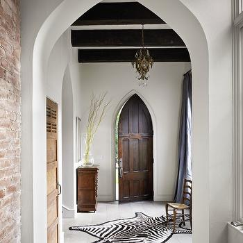 Hugh Jefferson Randolph Architects - entrances/foyers - gothic door, arched doorways, gothic doorways, zebra rug,  Beautiful entrance foyer design
