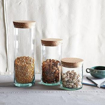 Decor/Accessories - Glass with Cork Lid | west elm - glass, canisters, cork lid