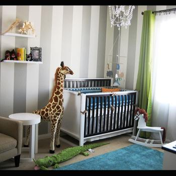 nurseries - Serena and Lily, Turquoise Rug, Stripes, Gray and White, striped nursery, striped nursery ideas, vertical striped walls, vertically striped walls, white and silver walls, white and silver striped walls, turquoise rug, turquoise blue rug, green curtains, green drapes,