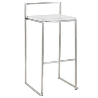 Seating - Genoa Counter Stool in White - Set of 2 | Discount Nuevo Furniture | Directly Home Furniture - white, chrome, counter stool