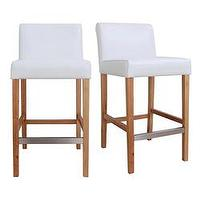 Seating - Cosmopolitan Modern White Leather Counter Stools (Set of 2) | Overstock.com - white, bar stool