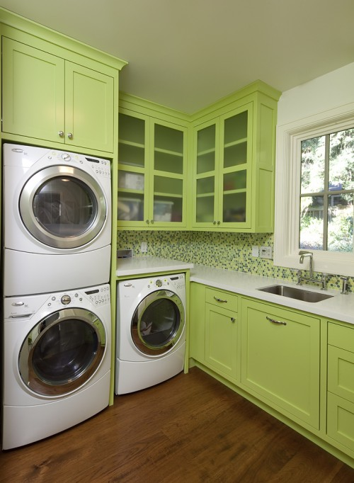 Suzie: Artistic Designs for Living - Bright green laundry room design with white washer & ...