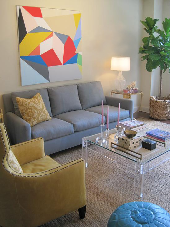 Suzie:  Elizabeth Sullivan  Chic gray & yellow modern living room design with off-white walls ...