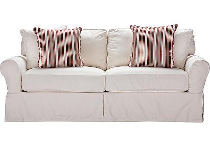Seating - Cindy Crawford Home Beachside White Denim Sofa | Sofas | Rooms To Go Furniture - white, slipcover, sofa
