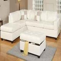 Living Room Packages on Seating    Super Hot Buy  Learher Sectional With Storage Ottoman New