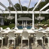 Carlos Miranda Design - decks/patios - white pergola, pergola, pergola ideas,  Gorgeous outdoor deck patio space with white pergola, White Kartell