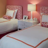 Artistic Designs for Living - girl's rooms - pink girls room, pink girls room ideas, pink girls bedroom, shared girls room, shared girls bedroom, pink headboards, twin pink headboard, pink geometric headboard, white and orange bedding, shared nightstand,