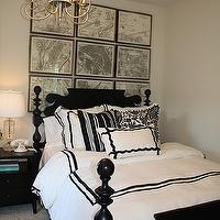 bedrooms - black and white bedding, black bed, black wood bed, black poster bed, four poster bed, black four poster bed, vintage map art, ethan allen quincy bed, Ethan Allen Paris Grid,