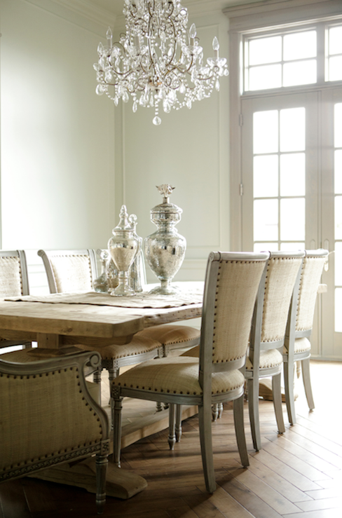 Decor de Provence - dining rooms - Oly Studio Sarah Side Chair, modern, French, rustic, trestle, dining table, linen, nailhead trim, gray, French, dining chairs, mercury glass, canisters, vases, crystal chandelier, transom, windows, French doors, french table, french dining table,