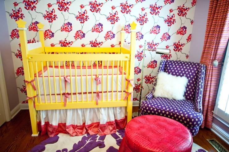 nurseries - Pink cherry blossom crocodile ottoman rug draperies reading lamp chair crib purple  Natalie Clayman Interior Design   Girl's nursery...Duralee
