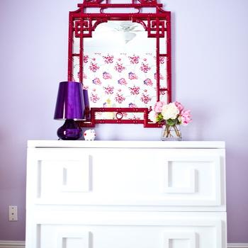 Natalie Clayman Interior Design - nurseries - faux bamboo mirror, bamboo mirror, pagoda mirror, red faux bamboo mirror, red bamboo mirror, red pagoda mirror, greek key chest, white greek key chest, purple lamp, purple table lamp, white lacquer chest, lacquer greek key chest, Red Pagoda Mirror, White Lacquer Oriental 2 Drawer Chest,
