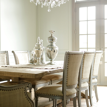 Decor de Provence - dining rooms: French doors, french table, french dining table, salvaged wood dining table, herringbone floor, herringbone wood floor, herringbone hardwood floor,